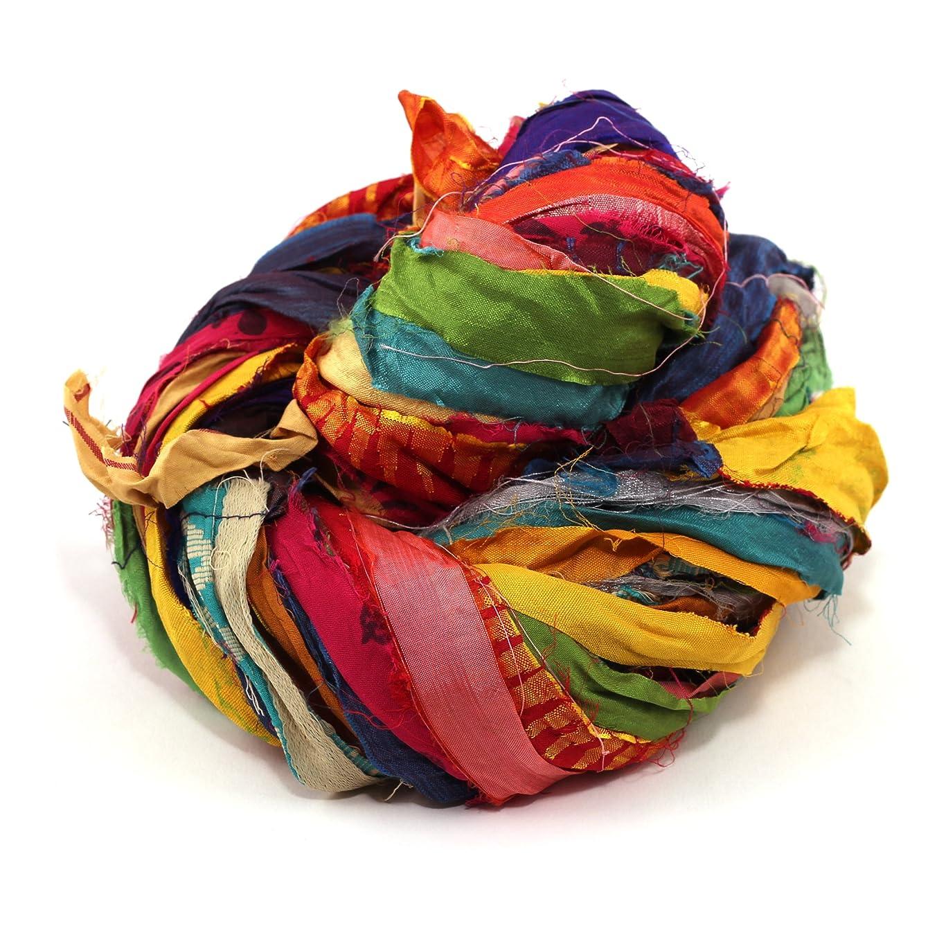 Darn Good Yarn Recycled Handmade Sari Silk Ribbon At the Bahamas Multicolor Yarn   Silk Ribbon, Knitting Yarn, Crochet Yarn   Jewelry Making, Gift Wrapping Ribbon   100 grams, 55 yard