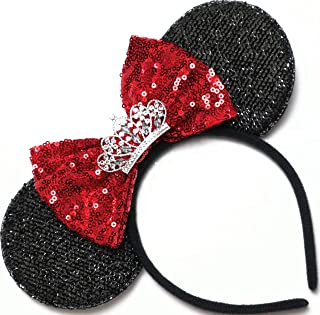 CLGIFT Red Minnie Mouse Ears Headband Shiny Black Glittery Red Bow Tiara Birthday Party/Disney Princess Ears/Disney Princess Ears/one Size fits Most