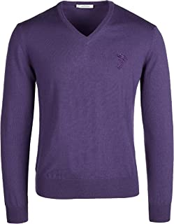 Versace Collection Purple V-Neck Wool Sweater