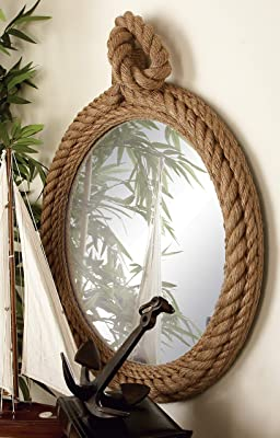 Unique Country D/écor CKK Home Décor SB-5709A Stonebriar Vertical Rectangle Rope Mirror for Wall