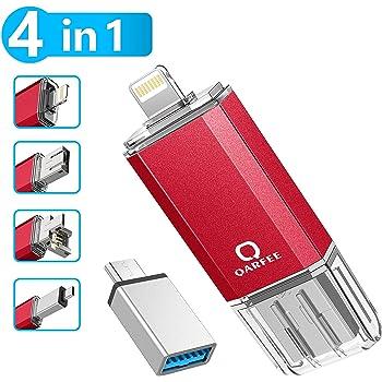 Qarfee Memoria USB 32GB 4 in 1 Chiavetta USB Flash Drive per iPhone iPad e PC Laptop, USB 3.0 Pen Drive per Dispositivi con Apple/iOS/Android/USB/Micro USB/Tipo C Porta (Rosso)