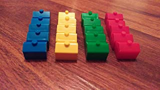 Plastic Hotels: Red, Yellow, Green, and Blue Color Board Game Replacement Hotel (Colored Miniature Town & City Buildings, Board Game Playing Pieces)