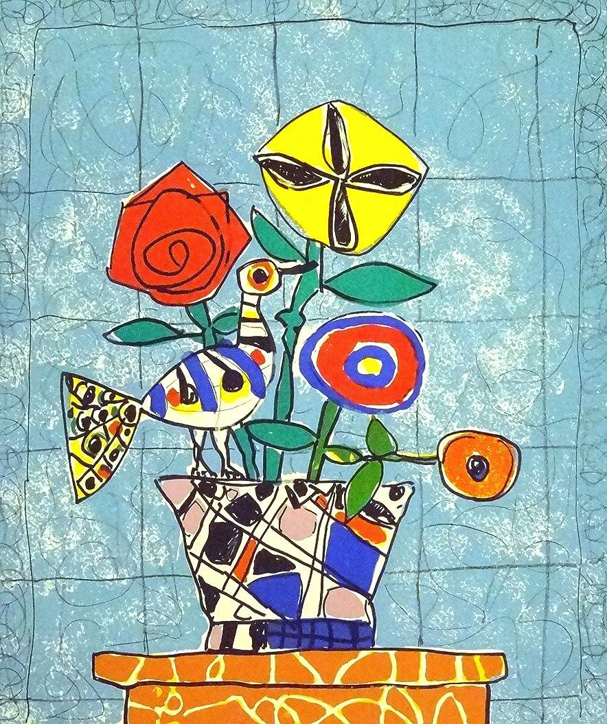 ライドラッカス足絵画 ポール?アイズピリ『水色の背景の白い鳥のいる花束』 80×71cm poru-6