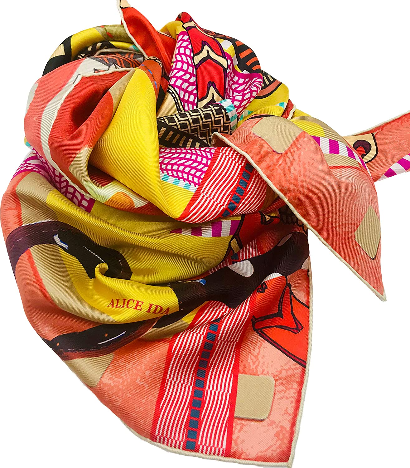 ALICE IDA La Maison- Silk Scarf for Women's Luxury Fashion Twill Scarves Hand Rolled Made in France with Elegant Gift Box