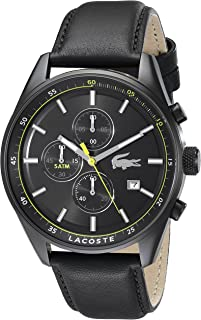 Lacoste Dublin Men's Black Dial Leather Band Chronograph Watch - 2010785