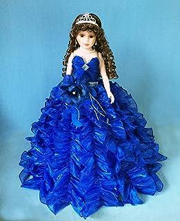 "Jmisa 24"" Umbrella Porcelain Dolls Quince Anos Royal Blue"