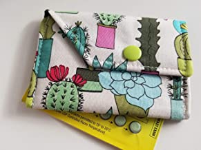 Birth Control Case Sleeve with Snap Closure and Optional Keychain Clip -Succulents