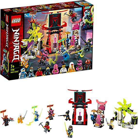 LEGO 71708 Ninjago Mercado de Jugadores, Juguete de Construcción para Niños +7 años con 9 Mini Figuras de Ninjas