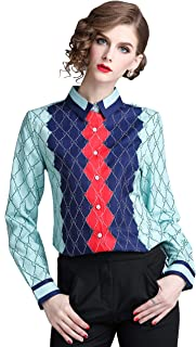 DOVWOER Women's Plaid Print Blouse Long Sleeve Button up Shirt Casual Top