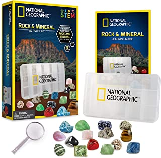 NATIONAL GEOGRAPHIC Rocks and Minerals Education Set – 15-Piece Rock Collection Starter Kit with Tiger's Eye, Rose Quartz,...