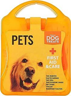 Natural Dog Treats Premium Botiquín de Primeros Auxilios para Perros y Gatos, Extractores de Garrapatas, Toallitas, Vendajes