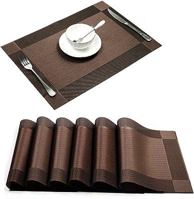 Bridge2shopping PVC Table Place Mats, 45 x 30 cm, 6 Pieces, Brown