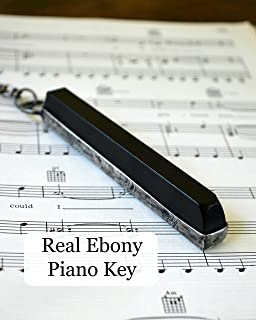 Antique Ebony Piano Key, Handmade Gift for Musician or Music Teacher, Long Musical Necklace Jewelry 2295