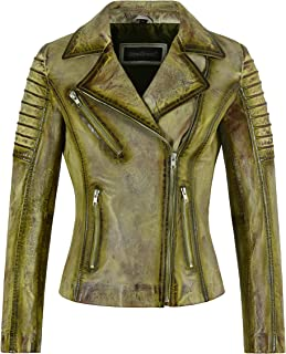 Carrie CH Hoxton Giacca da donna SUPERMODEL Giacca moda gotica da motociclista in vera pelle color lime arrugginito 9334