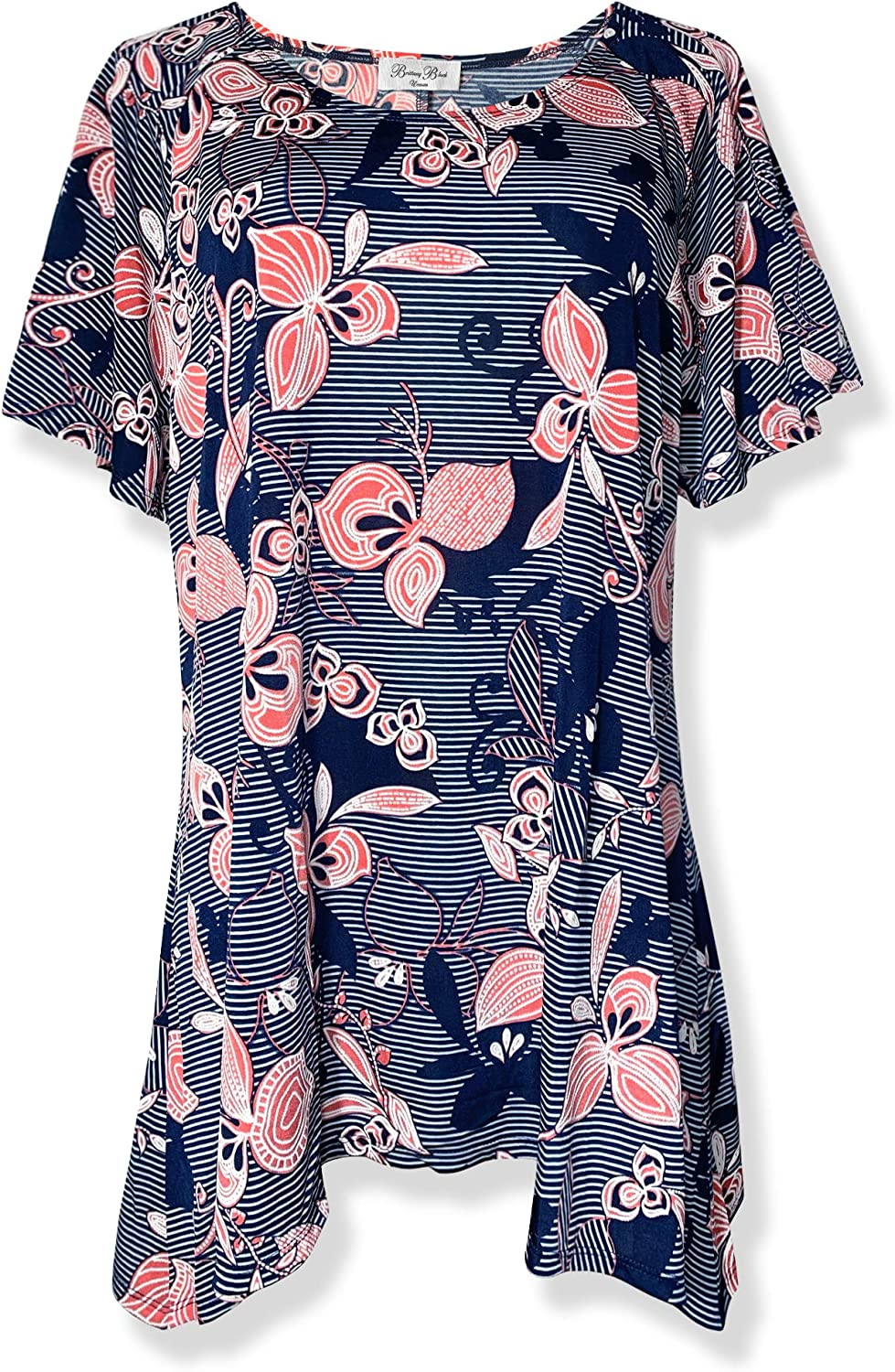 Brittany Black Women's Flutter Short Sleeve Floral Tunic Knit Top