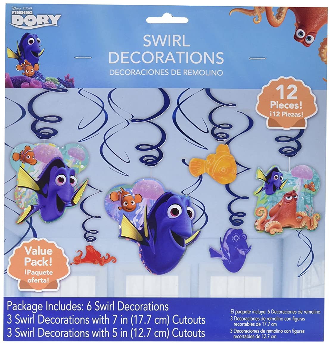 Foil Swirl Decorations | Disney /Pixar Finding Dory Collection | Party Accessory