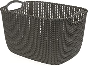 HOUZE Braided Storage Basket with Handle, Brown, Large