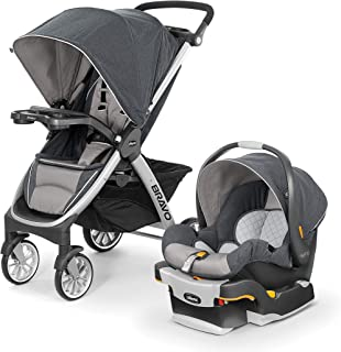 Chicco Bravo Trio Travel System with Full Size Stroller, Convertible Frame Stroller, One-Hand Compact Fold, Extendable Canopy and KeyFit 30 Infant Car Seat, Nottingham