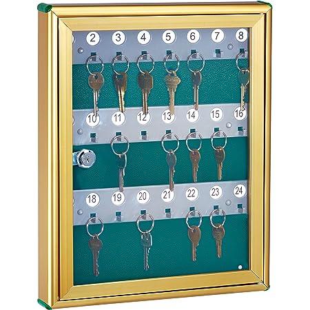 AdirOffice Glass Key Cabinet Security Box - Wall Mount Valet Lock Box - Adjustable Key Cabinet - Holds 24 Keys (Gold)