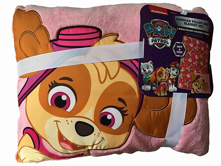 The Fun House Skye Pup Toddler Pillow and Blanket Set