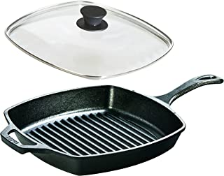 Lodge Seasoned Cast Iron Cookware Set - Square Grill Pan with Square Tempered Glass Lid (10.5 Inch)