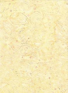 "Timeless Treasures Butter Yellow Paisley Batik ~ Half Yard!! ~ Java Block Printed (Tjap Stamped) Party Bandana Paisley Bali Tie Dye (Ikat) Batik ~ Quilt 100% Cotton 44"" Wide"