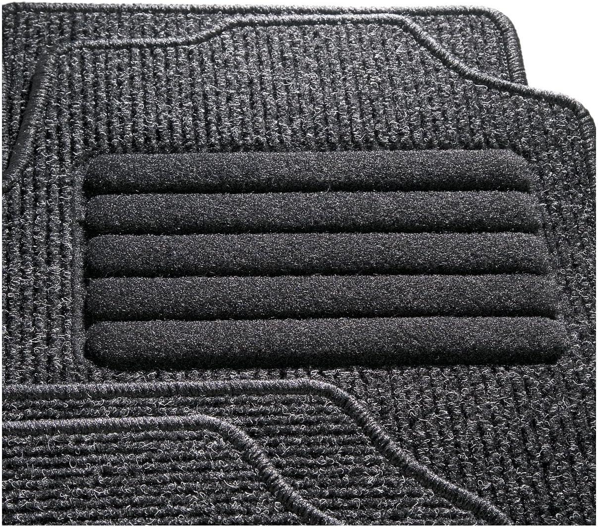 4-Piezas CarFashion 255139 Auto Alfombra Soporte sin Juego de alfombrillas para Matte plana BasicRips-Textil Negro