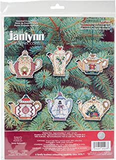 Prima Marketing 21-1486 14 Count Christmas Teapot Ornaments Counted Cross Stitch Kit, 3-Inch, Set of 6
