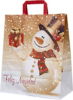 BOLSAS JUNCARIL - 25 Bolsas para Regalo de Papel Navidad 32+12x37 asa plana