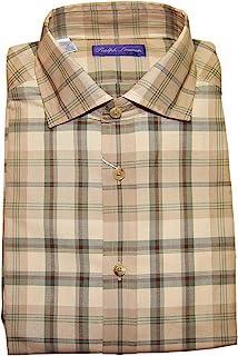 Polo Purple Label Mens Brown Green Plaid Dress Shirt Italy