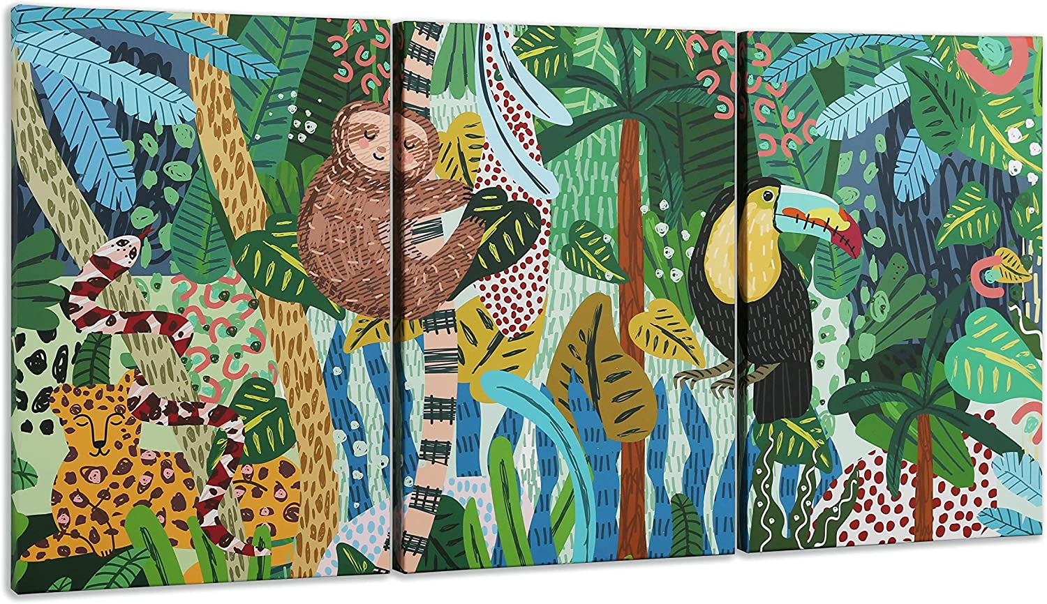 Hand Drawn Colorful Abstract Jungle Animals Wall Art Decor | Unique Hanging Canvas Print | Unframed 3 Piece Set | Boys & Girls Bedroom | Baby Nursery Room | Kids Playroom | Home Accent
