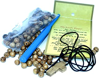 Holy Land Market Rosary Making kit - with 6 and 8 mm Beads, Knotting or Threading Tool - Made