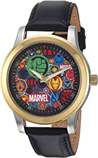 MARVEL Men's Classic Analog-Quartz Watch with Leather-Synthetic Strap, Black, 18 (Model: WMA000058)
