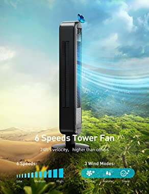 Dreo Tower Fan with Remote, 90° Oscillating Bladeless Fan, 42 Inch, Quiet with 6 Speeds, Large LED Display, Touchpad, 12H Tim