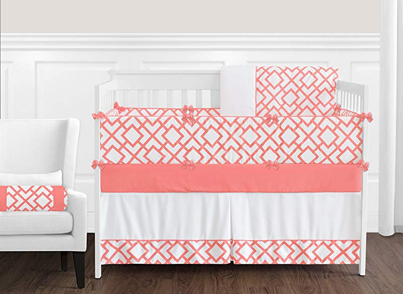 Sweet Jojo Designs 9 Piece Modern White And Coral Diamond Geometric Crib Bed Bedding Set For A Newborn Baby Girl