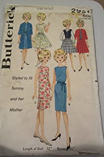Butterick Printed Pattern - Styled To Fit Tammy and Her Mother Doll Outfits - Sewing #2931 - Circa 1950's Tammy Teenage Doll Wardrobe 26 Pieces
