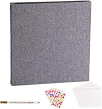 VACNITE Photo Album Self Adhesive, Dust-Free/Air-Free/Glue-Free Scrapbook Album for Wedding/Family, Linen Cover DIY Gift Magnetic Photo Book with 40 Sticky Pages Holds 8X10, 6X8, 5X7, 4X6