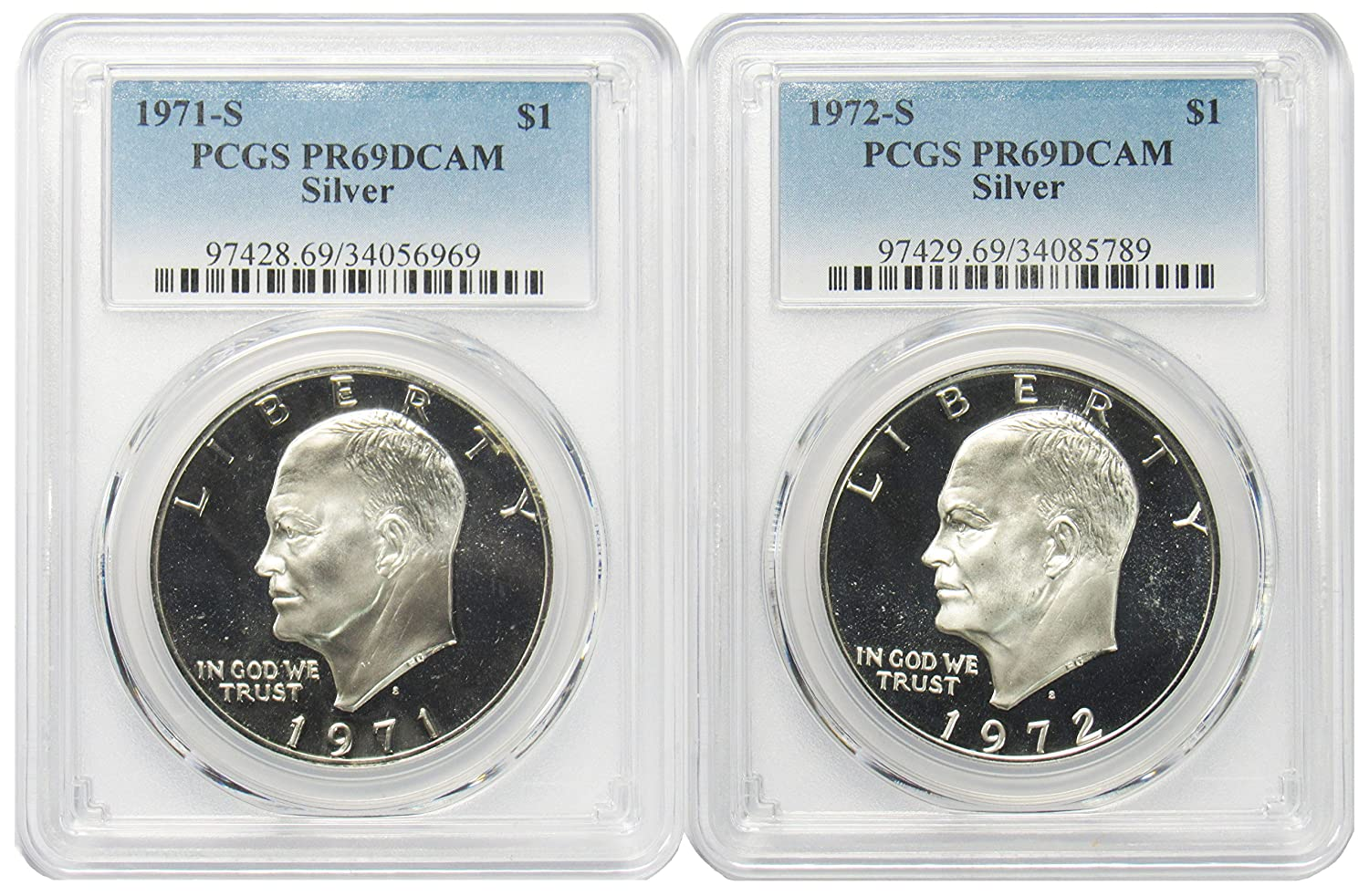 1971 1972 S Silver Eisenhower Ike Co Dollar Free Shipping Cheap Bargain Gift PCGS $1 Super popular specialty store PR69DCAM 2