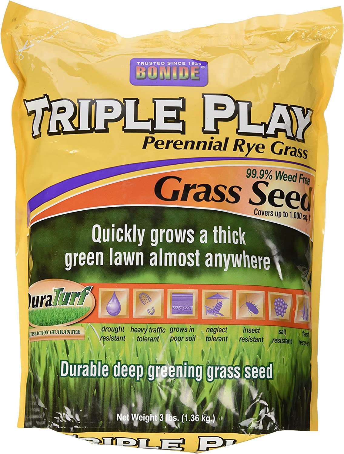 Bonide 60271 Large special Ranking TOP5 price Triple Play Seed Grass 3-Pound Rye