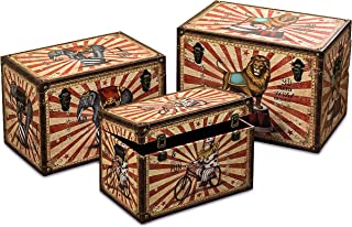 Whole House Worlds The Big Top Circus Animal Travel Trunk Chests, Set of 3, Decorative Storage Boxes, Various Sizes, Faux Leather, Studs, Wood, Lined, Brass Hardware, Various Sizes, By