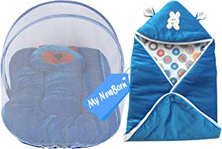 My NewBorn Baby Wrapper and Foldable Mosquito Bed Net with Pillow (Blue)