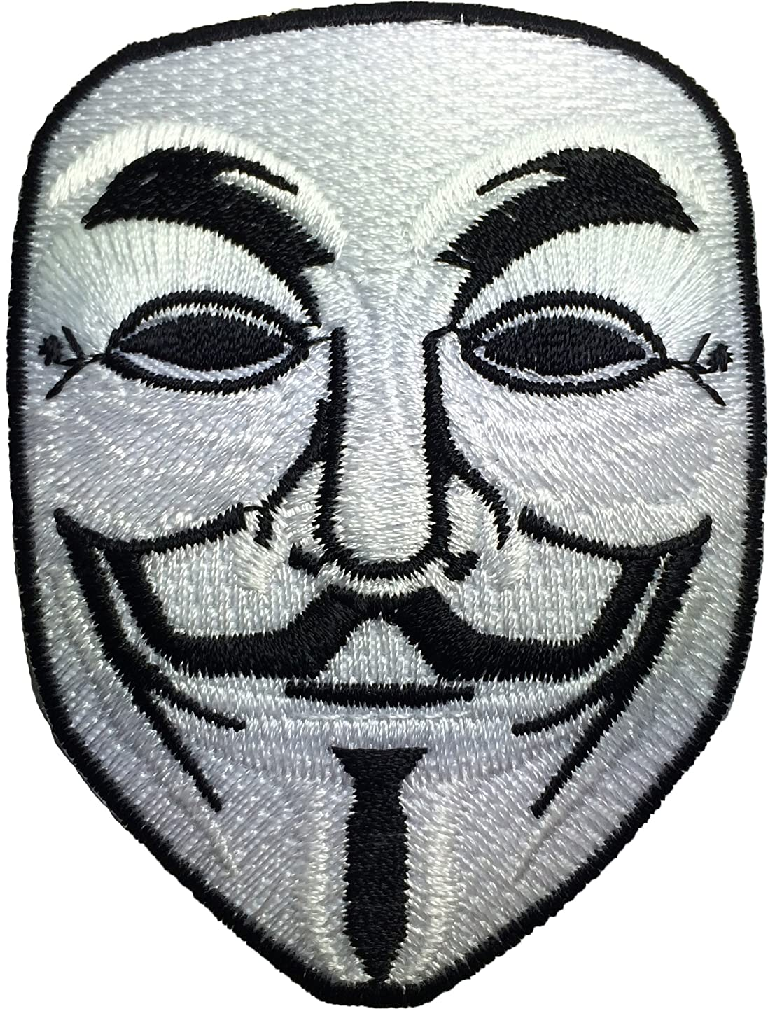 Anonymous Mask Sew on Iron on Embroidered Applique Patch - White By Ranger Return (GUYF-WHITE)
