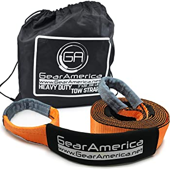 GearAmerica Heavy Duty 20 ft Tow Strap | 35,000 lbs (17.5 Tons) Strength | Use for Emergency 4x4 Towing, Recovery or Winch Extension | Triple Reinforced Loops, Protective Sleeves & Storage Bag