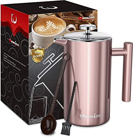 304 Stainless Steel French Press Coffee Maker - 34 oz, Double-Wall Vacuum Insulated Tea Brewer Pot with 4 Level Filtration System - Extra 2pcs Filters Included - 8 Cup/1000ml
