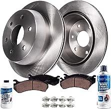 Detroit Axle - 6LUG Pair (2) Rear Disc Brake Rotors w/Ceramic Pads w/Hardware & Brake Cleaner & Fluid for 1999-2000 Chevy Silverado 1500 / GMC Sierra 1500