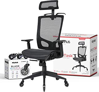 NOUHAUS ErgoTASK – Ergonomic Task Chair, Computer Chair and Office Chair with Headrest. Rolling Swivel Chair with Rollerbl...