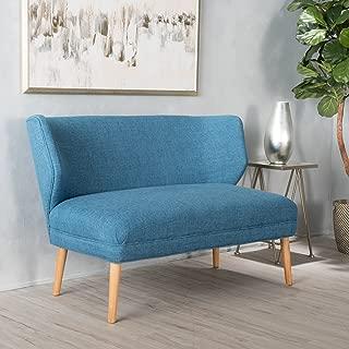 Christopher Knight Home Dumont Mid Century Modern Fabric Loveseat Sofa Settee (Blue)