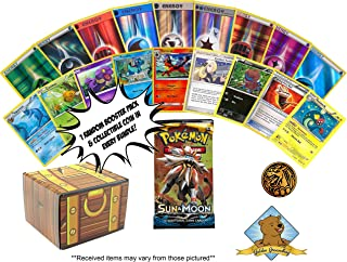 100 Pokemon Card Lot Featuring - 1 Random Pokemon Booster Pack - 1 Coin - 10 Foil Energy Cards - Includes Golden Groundhog Treasure Chest Storage Box!