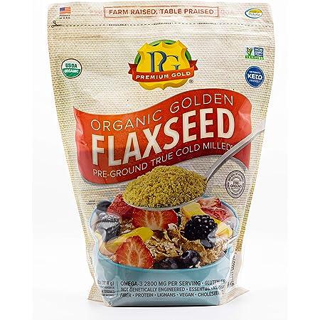 Premium Gold Organic Ground Flax Seed | High Fiber Food | Omega 3 | 4 pounds