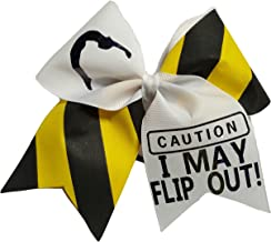 Cheer bows Caution I May Flip Out! Hair Bow